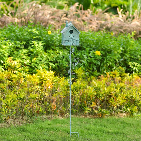Tall Distressed Teal Birdhouse Garden Stakes Art 57 Inch Real Shot 3