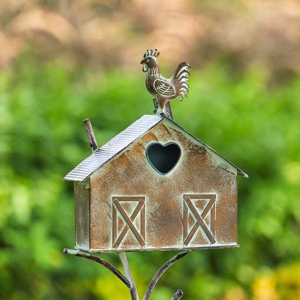 Rustic Farmhouse Barn Design Birdhouse Garden Stakes 55 Inch Real Shot 1
