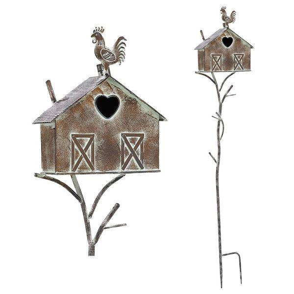 Rustic Farmhouse Barn Design Birdhouse Garden Stakes 55 Inch