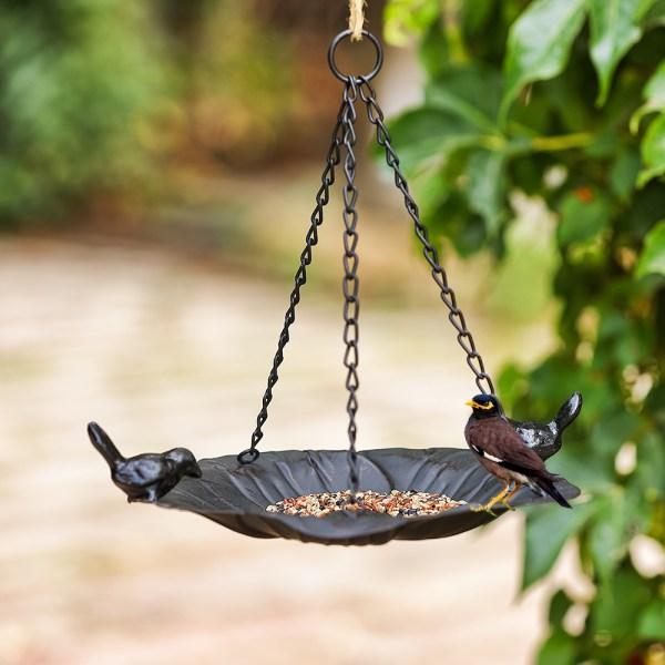 Black hanging tray bird feeders Real shot 1