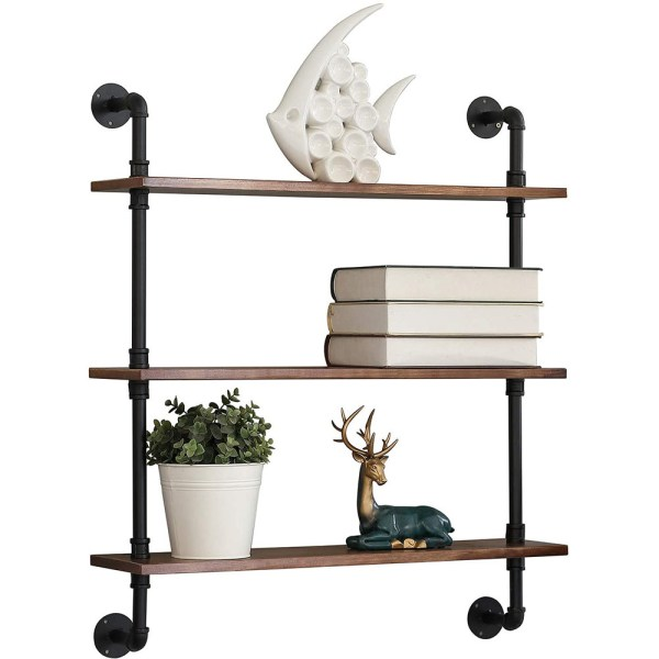 3 Tiers Rustic Brown Wood Floating Shelves with Metal Stand figure 4