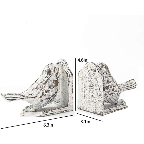 Vintage White Cast Iron Bird Bookends Dimensional Drawings