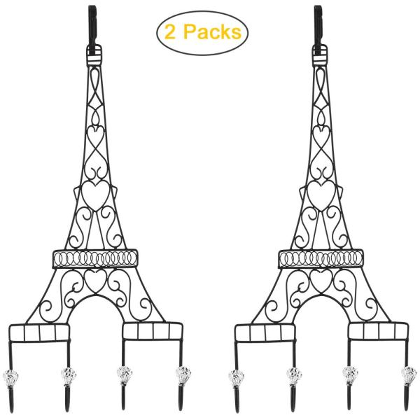 Metal Eiffel Tower Black Coat Hooks