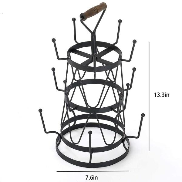 Vintage Black Metal Coffee Mug/Tea Cup Tree with Handle Dimensional Drawings