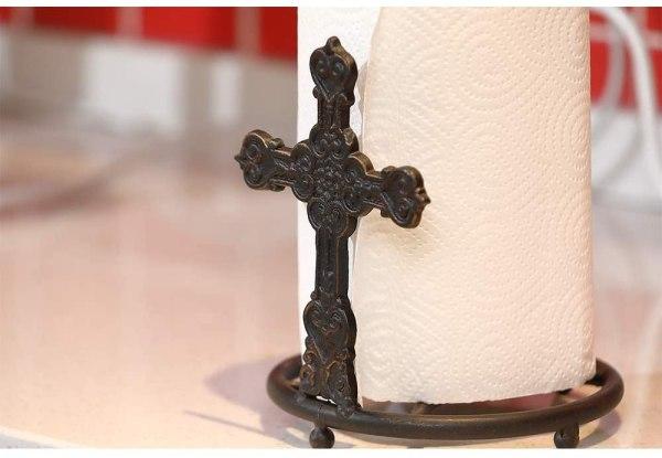 Kitchen Bronze Rustic Cross Paper Towel Holder Partial details 1