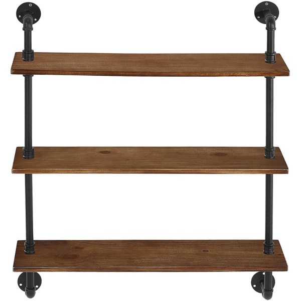 3 Tiers Rustic Brown Wood Floating Shelves with Metal Stand figure 1