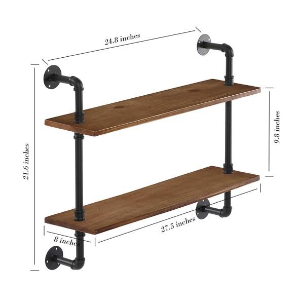 Rustic Wooden Bathroom Shelves Dimensional Drawings