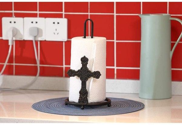 Kitchen Bronze Rustic Cross Paper Towel Holder Real shot