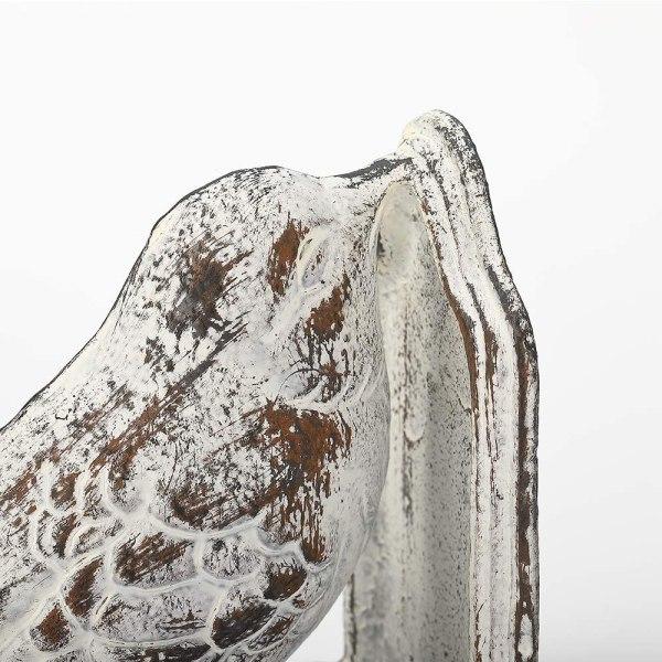 Vintage White Cast Iron Bird Bookends Partial details 1