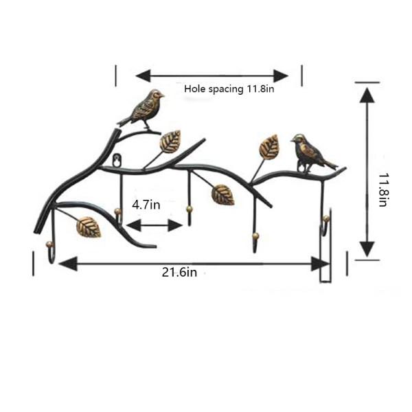 birds wall hooks Dimensions