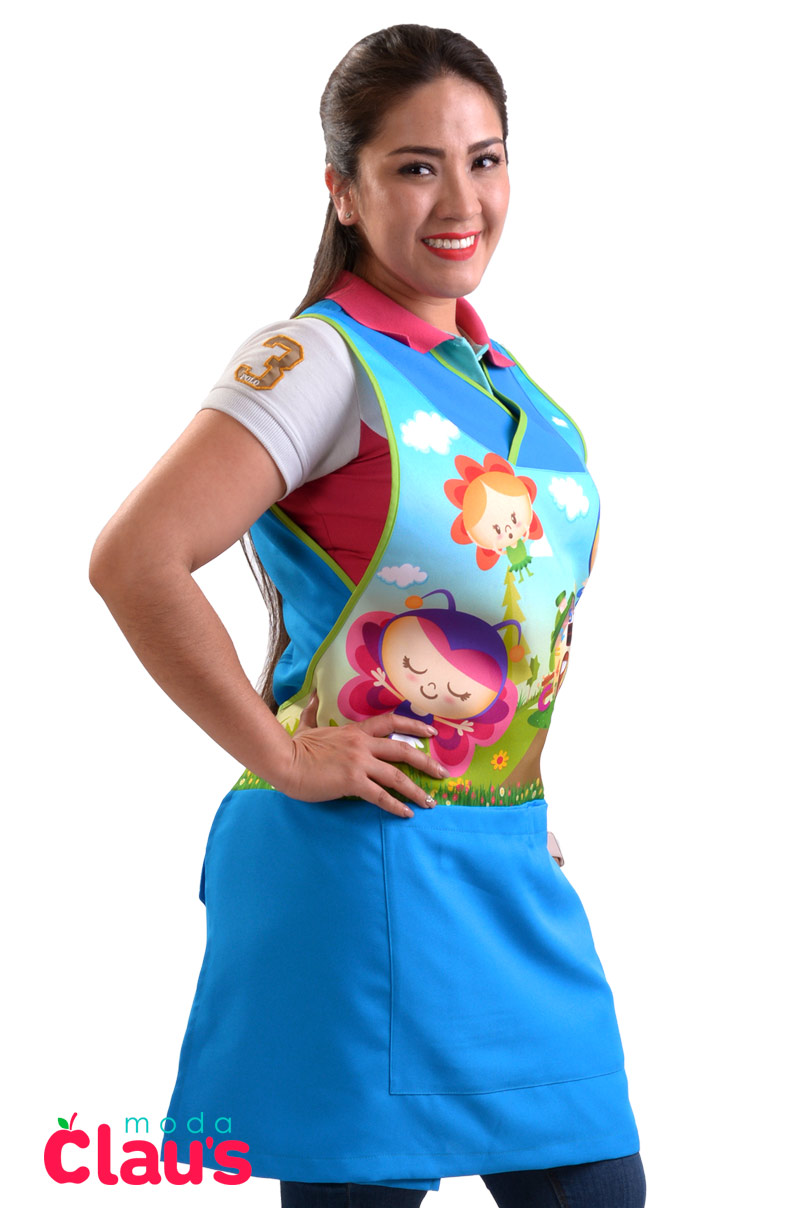 uniformes para maestras de preescolar color azul costado