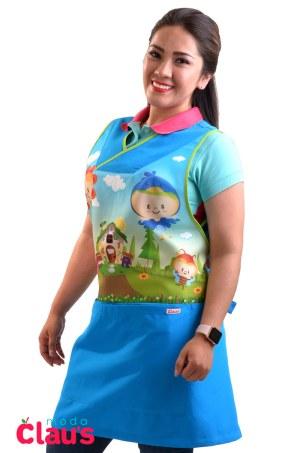 uniformes para maestras de preescolar en color azul cielo