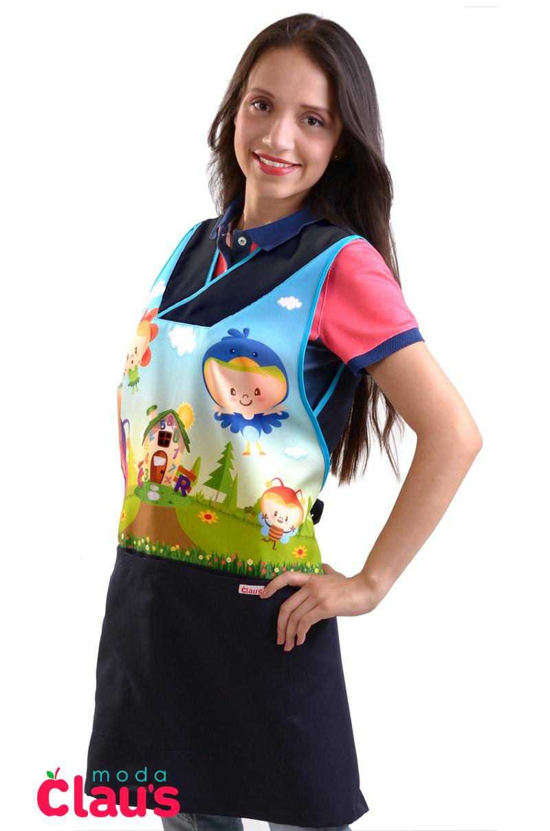 uniformes para maestras de preescolar color azul marino costado