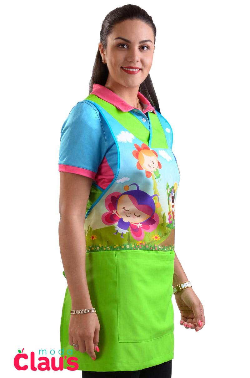 uniformes para maestras de preescolar color verde costado