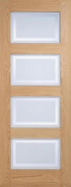 LPD Internal Oak Contemporary 4 Light Silkscreen Glazed Door