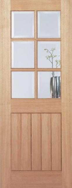 LPD Internal Oak Mexicano 6 Light Clear Bevelled Glass Pre-Finished Door
