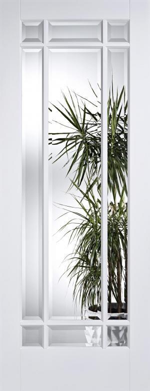LPD Internal Manhattan Clear Bevelled Glass White Prime Plus Door
