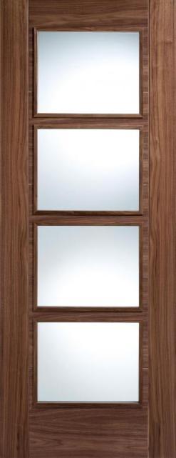 LPD Internal Walnut Vancouver 4 Light Clear Glazed Fire Door