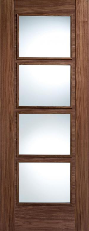LPD Internal Walnut Vancouver 4 Light Clear Glazed Fire Door