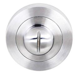 Atlantic Handles Status WC Turn and Release on Round Rose in a Satin Chrome Finish