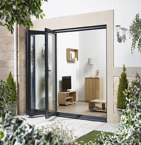 LPD External 2.4m ALUVU (8ft) Aluminium Bi-Fold Door Set in a Grey Finish (Left Hand Opening)