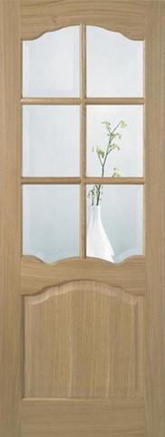LPD Internal Oak Glazed Riviera Pre-Finished Non-Raised Mouldings Door