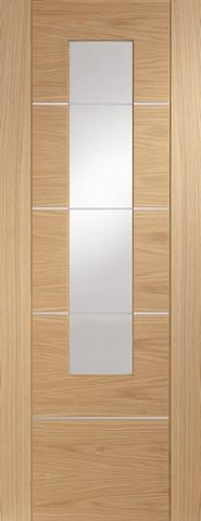 XL Joinery Internal Glazed Oak Pre-Finished Portici Door With Ethced Glass