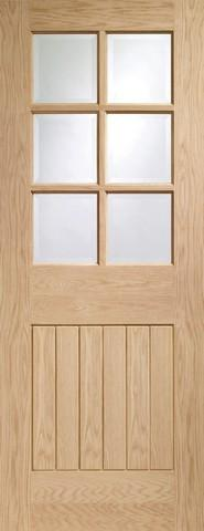 XL Joinery Internal Oak Pre-Finished Suffolk 6 Light with Clear Bevelled Glass Door