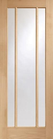 XL Joinery Internal Oak Worcester 3 Light with Clear Glass Fire Door