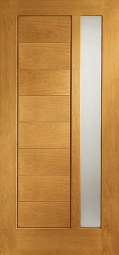 XL Joinery Pre-Finished External Oak Double Obscure Glazed Modena Door Set