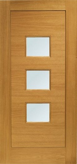 XL Joinery Pre-Finished External Oak Double Obscure Glazed Turin Door Set