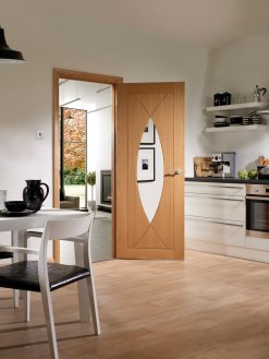 XL Joinery Internal Oak Pesaro with Clear Glass Fire Door