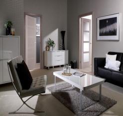 LPD Internal Light Grey Vancouver 4 Light Clear Glazed Door