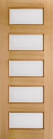 LPD Internal Oak Contemporary 5 Light Frosted Glazed Pre-Finished Door