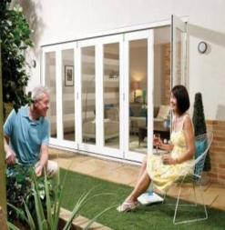 LPD External 2.1m NUVU (7ft) White Pre-Finished Bi-Fold Doors with a 3+0 Configuration