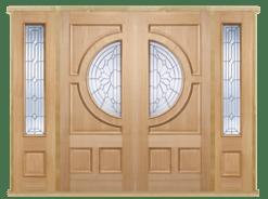 MODA Doors External Empress Oak IG Zinc Double Entrance Door with 2 Sidelights & Door Frame