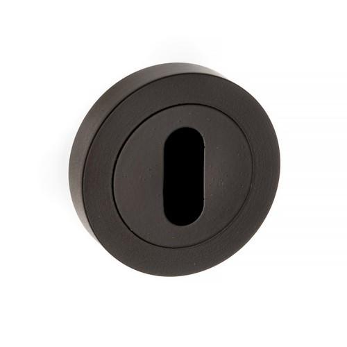Atlantic Handles Forme Key Escutcheon on Contempo Round Rose in a Matt Black Finish