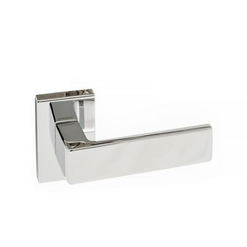 Atlantic Handles Asti Forme Designer Lever on Minimal Square Rose in a Polished Chrome Finish Pair of Door Handles