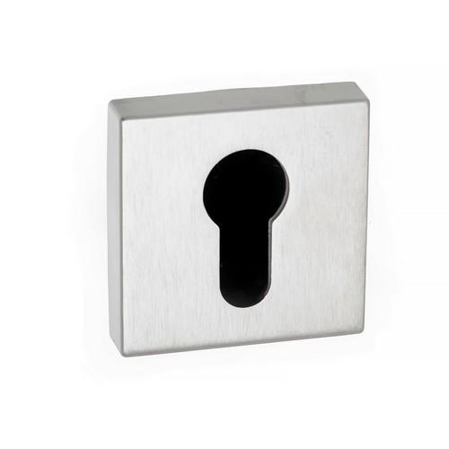 Atlantic Handles Forme Euro Escutcheon on Minimal Square Rose in a Satin Chrome Finish
