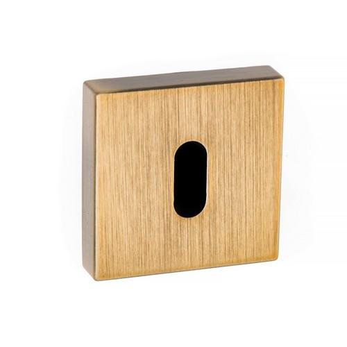 Atlantic Handles Forme Key Escutcheon on Minimal Square Rose in a Yester Bronze Finish