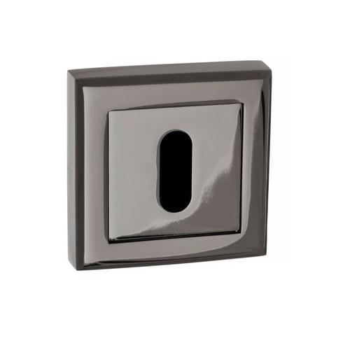 Atlantic Handles Status Square Rose Key Escutcheon in a Black Nickel Finish