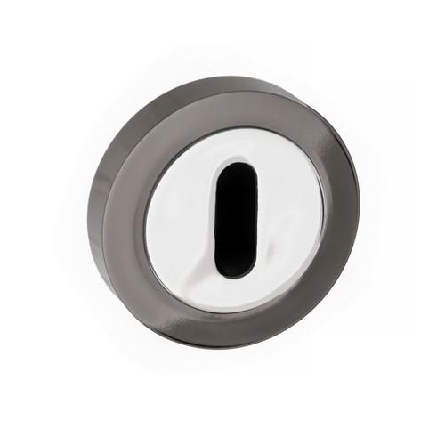 Atlantic Handles Status Round Rose Key Escutcheon in a Black Nickel & Polished Chrome Finish