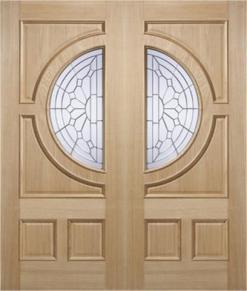 MODA Doors External Empress Oak IG Zinc Double Entrance Door