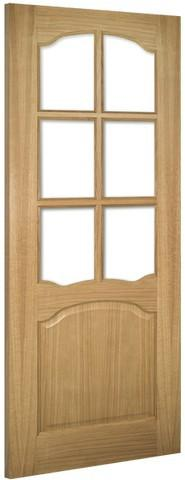 Deanta Doors Internal Louis Oak Un-Finished Clear Bevelled Glass Door