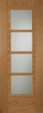 Mendes Internal Pre-Finished Oak Iseo 4 Light Semi Solid Door
