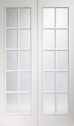 XL Joinery Internal Pre Finished White Moulded Portobello Pair with Clear Glass Door