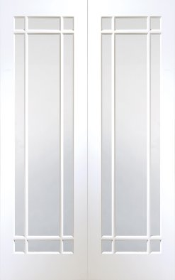XL Joinery Internal White Primed Cheshire with Clear Bevelled Glass Door Pair