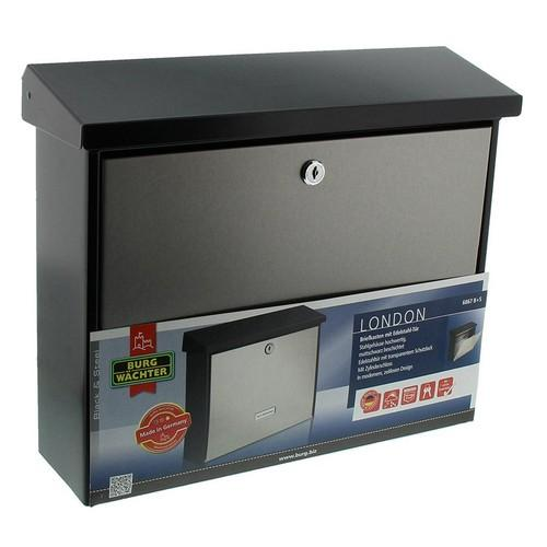 Burg-Wachter London 6867 B+S Post Box in Stainless Steel