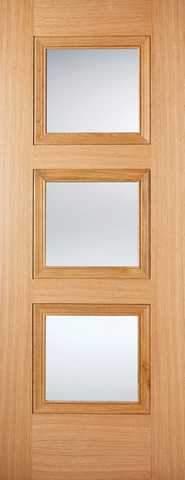 LPD Internal Prefinished Oak Amsterdam 3 Light Glazed Door