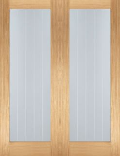 LPD Internal Oak Mexicano Glazed Door Pair